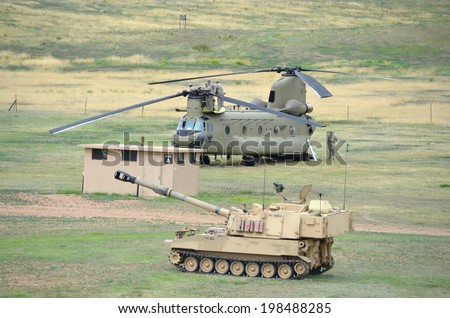 FT. CARSON, CO, USA JUNE 7, 2014 The Colorado National Guard in partnership with Fort Carson conducted a (CALFEX) combined-arms live-fire exercise and public demonstration at Fort Carson.   - stock photo