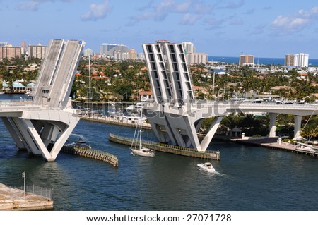 Ft. Lauderdale bridge lifting to allow ships get across - stock photo