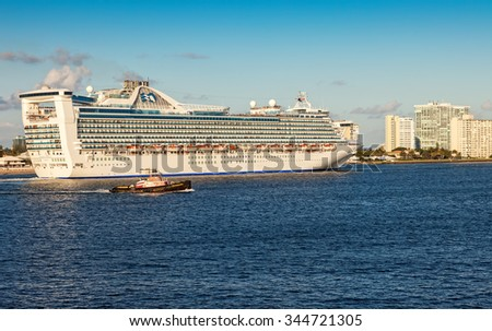 FT. LAUDERDALE, FL - JAN. 12, 2013:  Princess Cruise Lines departs from Port Everglades and sails to the Atlantic Ocean for a Caribbean cruise.   - stock photo