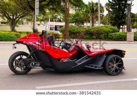 FT. LAUDERDALE, FL - JANUARY 13: Polaris Slingshot SL tricycle with two front wheels and one rear wheel photographed in Fort Lauderdale on January 13, 2016 - stock photo