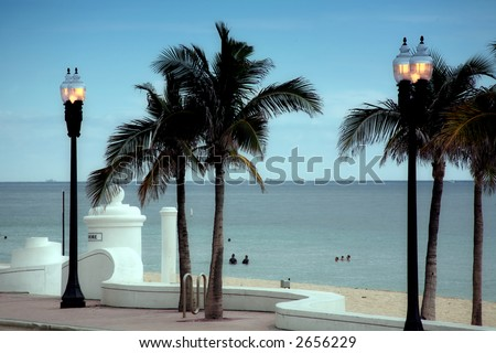 Ft. Lauderdale in the evening - stock photo