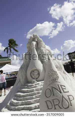 FT MYERS BEACH, FLORIDA - NOVEMBER 28, 2015: 2015 American Sand Sculpting Championship held November 20 - 29, 2015 at the Wyndham Garden, Ft. Myers Beach, Florida.