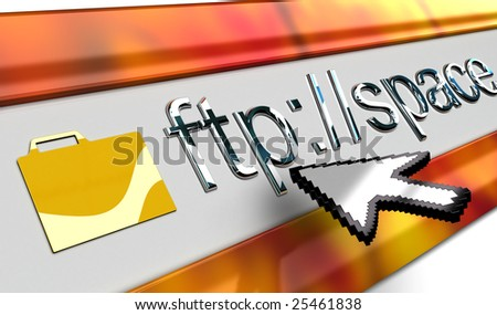 ftp browser bar in perspective with mouse pointer in vista style. - stock photo