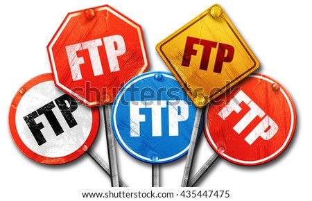 ftp, 3D rendering, street signs - stock photo