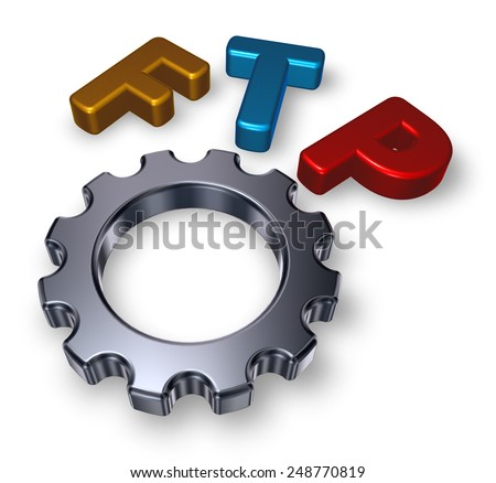 ftp tag and gearwheel - stock photo