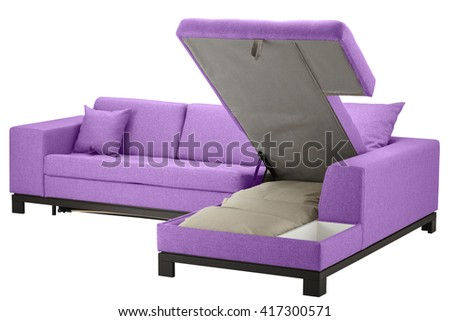 Fuchsia corner couch bed with storage. Isolated on white include clipping path - stock photo