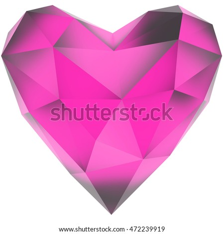Fuchsia crystal heart. Isolated on white background. Include clipping path. 3d render