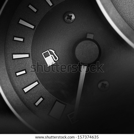 Fuel gauge dash board close up - stock photo