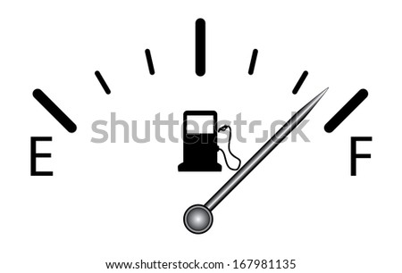 Fuel gauge design on white indicating near full. Raster version of fuel indicator design. Isolated transportation icon.