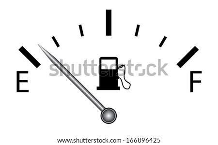 Fuel gauge design on white. Raster version of fuel indicator design. Isolated transportation icon. - stock photo