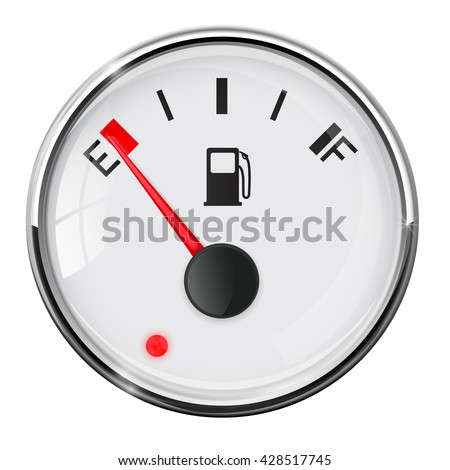 Fuel gauge. Empty. With chrome frame. Illustration on white background. Raster version