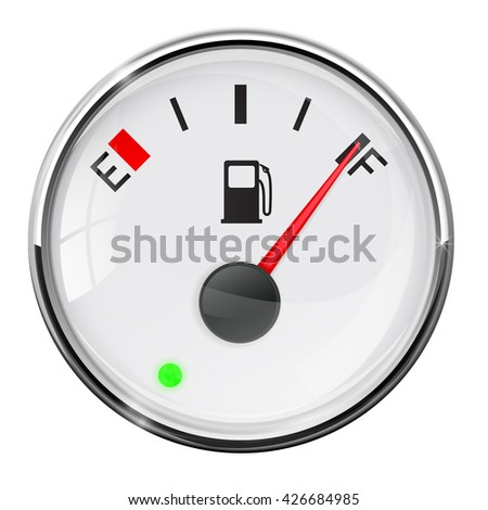 Fuel gauge. Full tank. Illustration on white background. Raster version