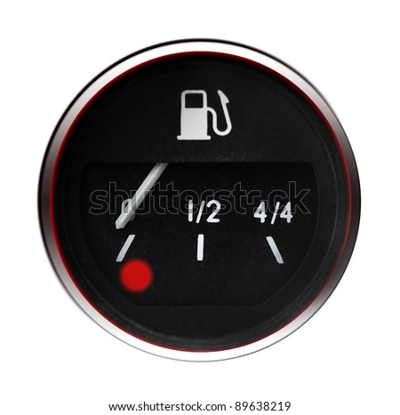 Fuel gauge isolated on white background - stock photo