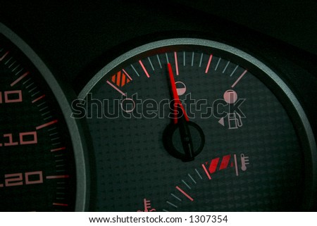 Fuel gauge on an automobile dashboard
