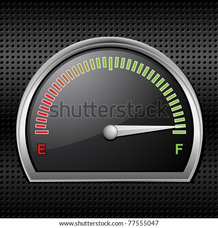 Fuel gauge with black dial and needle showing full on a black metallic background