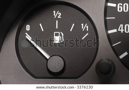 Fuel gauge with driving wheel shadow