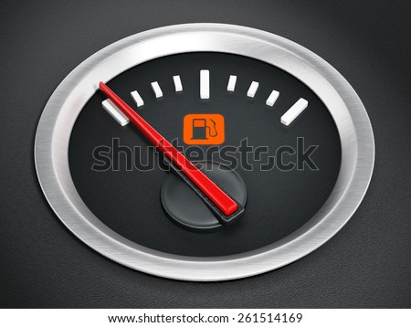 Fuel gauge with warning light indicating empty fuel tank