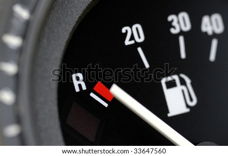 Fuel indicator at position empty - stock photo