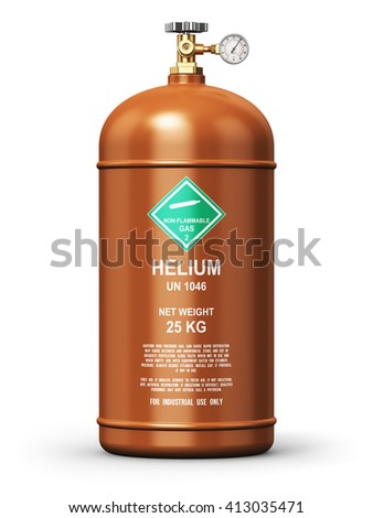 Fuel industry manufacturing business concept: 3D render illustration of brown metal liquefied compressed helium gas container or cylinder with high pressure gauge meter and valve isolated on white