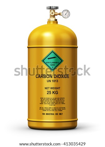 Fuel industry manufacturing concept: 3D render illustration of yellow metal liquefied compressed carbon dioxide gas container or cylinder with high pressure gauge meter and valve isolated on white