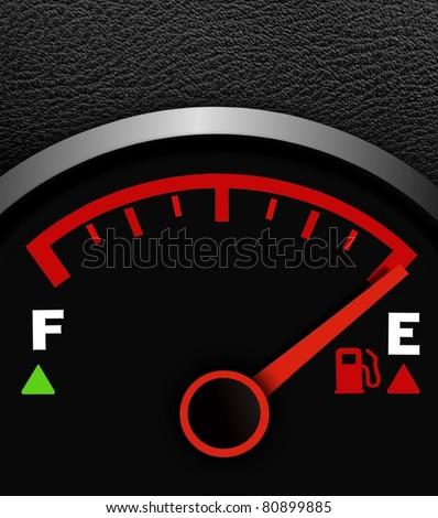 Fuel meter running low - stock photo