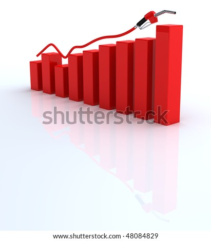 Fuel nozzle and red graph bars on white background - stock photo