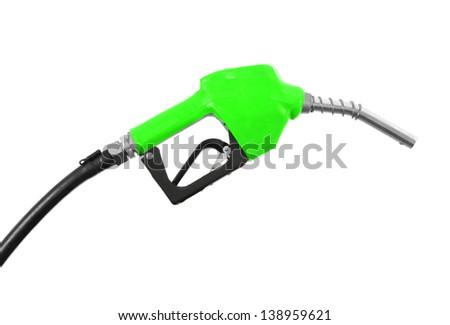Fuel nozzle isolated on white background - stock photo