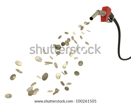 Fuel nozzle pouring Eur  coins isolated on white background - stock photo