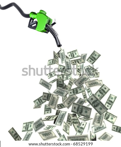 fuel nozzle with dollar banknotes 3d illustration - stock photo