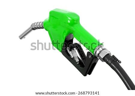 Fuel nozzle with hose isolated on white background - stock photo