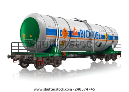 Fuel, oil and gas industry, ecology protection technology, logistics, cargo shipping and freight railroad transportation business concept: industrial railway tankcar with biofuel isolated on white - stock photo