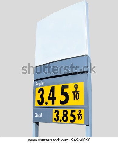 Fuel price sign at local gas station in rural Georgia, USA. - stock photo
