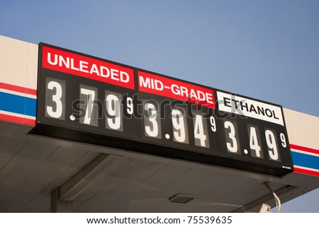 fuel prices at gas station - stock photo