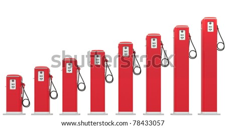 Fuel prices: red petrol pumps chart isolated on white - stock photo