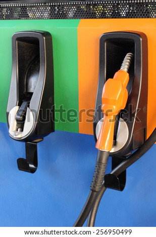 Fuel pump at a station - stock photo