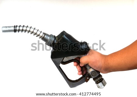 Fuel pump nozzle with a golden drop of gas isolated on white background - stock photo