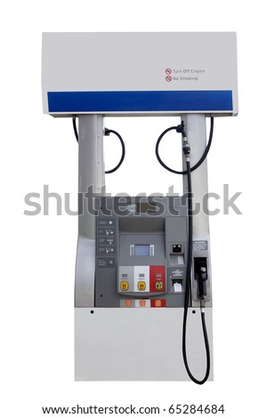 fuel pump station for gasoline isolated on a white background - stock photo