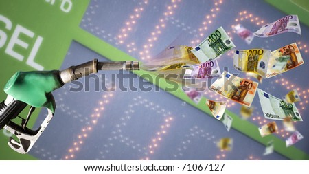 Fuel pump with euro banknote against price billboard - stock photo