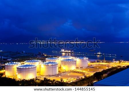 Fuel tank at night - stock photo