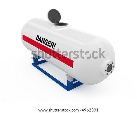 Fuel tank opened white isolated 3d model - stock photo