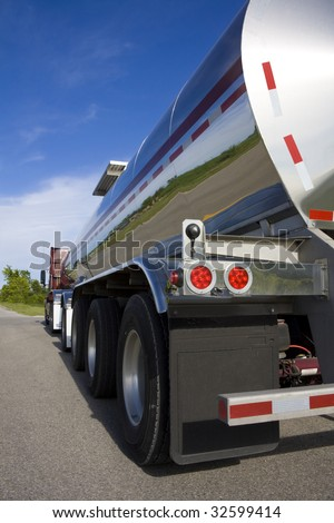 Fuel Tanker on the road - stock photo