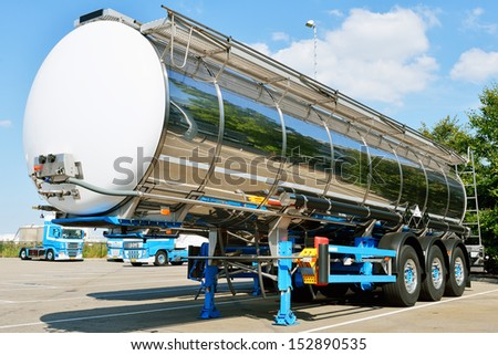 fuel tanker semi truck  - stock photo