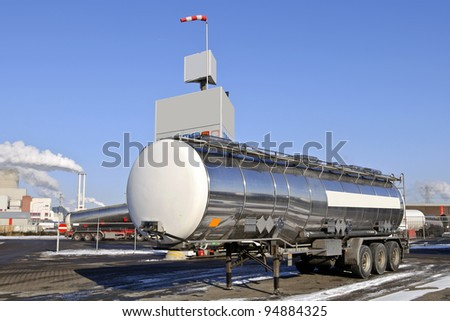 Fuel Tanker Truck at warehouse - stock photo
