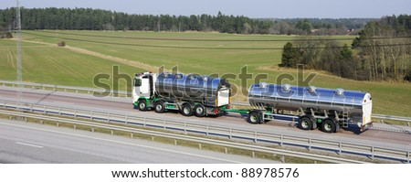 fuel-truck, tanker, in a panoramic and elevated view. - stock photo