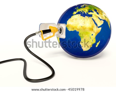 fueling earth on white background - stock photo
