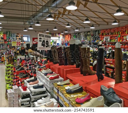 FUENSALIDA, SPAIN - FEBRUARY 14: Footwear store Fuensalida, Toledo, Spain on February, 2015. Fuensalida is famous for footwear factories, shops and warehouses - stock photo
