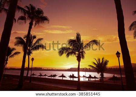 Fuerteventura Caleta del Fuste at Canary Islands of Spain - stock photo