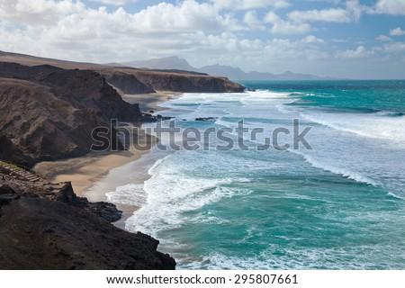 Fuerteventura, Canary Islands,Jandia peninsula, Playa del Viejo Rey - stock photo