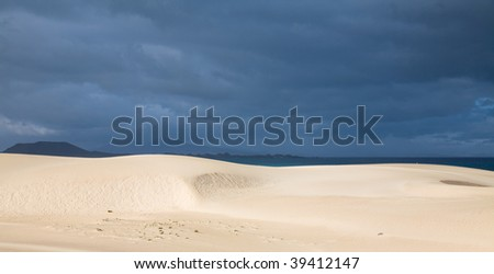 Fuerteventura, Corralejo sand dunes nature park, sand dunes in the sun, overcast ocean in the background