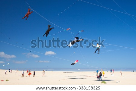 FUERTEVENTURA, SPAIN - NOVEMBER 7: Viewers watch from the ground as colorful kites fill the sky at 28th International Kite Festival, November 7, 2015  in Dunes of Corralejo, Fuerteventura, Spain